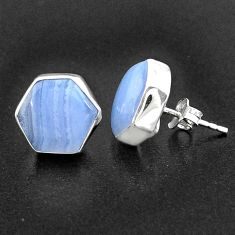 10.08cts hexagon natural blue lace agate 925 silver stud earrings r96836