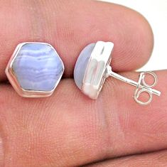 7.97cts hexagon natural blue lace agate 925 sterling silver earrings t48297
