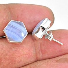 9.27cts hexagon natural blue lace agate 925 sterling silver stud earrings r93650