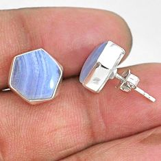 8.95cts hexagon natural blue lace agate 925 sterling silver stud earrings r93651
