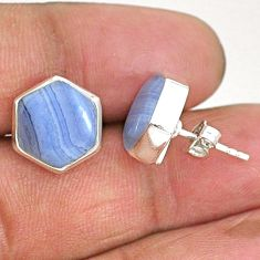 9.80cts hexagon natural blue lace agate 925 sterling silver stud earrings r93652