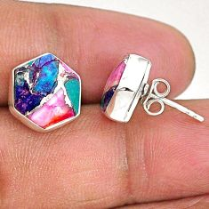 9.27cts hexagon spiny oyster arizona turquoise 925 silver stud earrings r93626