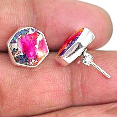 9.27cts hexagon spiny oyster arizona turquoise 925 silver stud earrings r93647