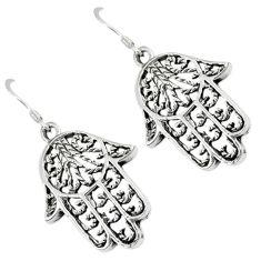 Indonesian bali java island 925 silver hand of god hamsa earrings jewelry c23101