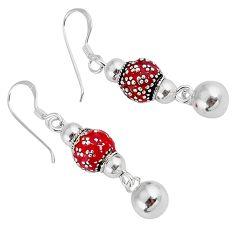 4.05gms indonesian bali java island enamel 925 silver dangle earrings c22374
