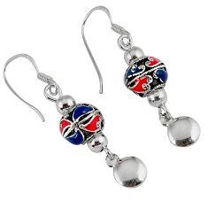5.43gms indonesian bali java island enamel 925 silver dangle earrings c22417