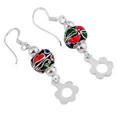 5.57gms indonesian bali java island enamel 925 silver dangle earrings c22419