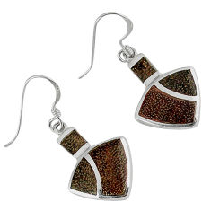 6.61gms indonesian bali java island enamel 925 silver dangle earrings c22721