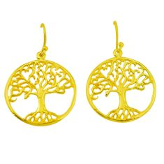 Indonesian bali style solid 925 silver 14k gold tree of life earrings c25908