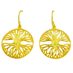 Indonesian bali style solid 925 silver 14k gold tree of life earrings c25909