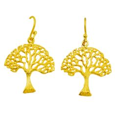 Indonesian bali style solid 925 silver 14k gold tree of life earrings c25915