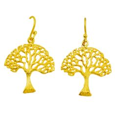 Indonesian bali style solid 925 silver 14k gold tree of life earrings c25916
