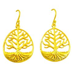 Indonesian bali style solid 925 silver 14k gold tree of life earrings c25917