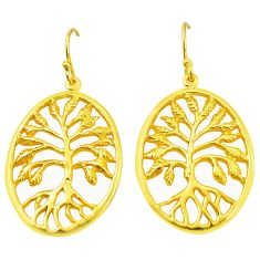 Indonesian bali style solid 925 silver 14k gold tree of life earrings c25918