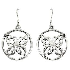 Indonesian bali style solid 925 silver butterfly charm earrings jewelry c20314