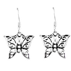 2.69gms indonesian bali style solid 925 silver butterfly earrings c20283