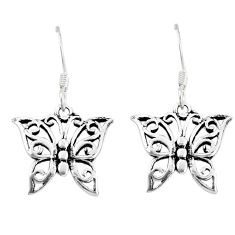 2.06gms indonesian bali style solid 925 silver butterfly earrings jewelry c20287