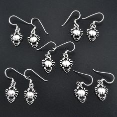 13.69gms indonesian bali style solid 925 silver crab lot 5 earrings sets t6303