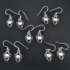 13.69gms indonesian bali style solid 925 silver crab lot 5 earrings sets t6304