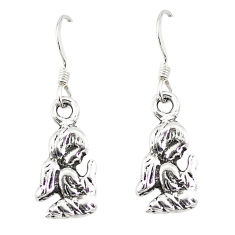 Indonesian bali style solid 925 silver dangle praying angel earrings c20294