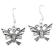2.03gms indonesian bali style solid 925 silver dragonfly earrings jewelry c20284