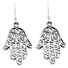Indonesian bali style solid 925 silver hand of god hamsa earrings c20305