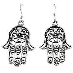 Indonesian bali style solid 925 silver hand of god hamsa earrings c20309