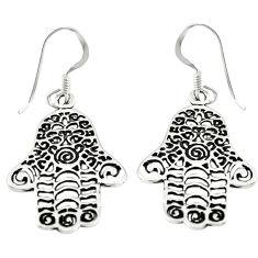 Indonesian bali style solid 925 silver hand of god hamsa earrings c23112