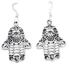 Indonesian bali style solid 925 silver hand of god hamsa earrings jewelry c20274