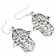6.69gms indonesian bali style solid 925 silver hand of god hamsa earrings t6241