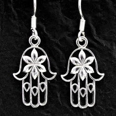 2.26gms indonesian bali style solid 925 silver hand of god hamsa earrings t6266
