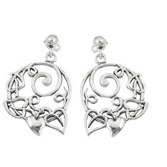 6.89gms indonesian bali style solid 925 silver heart love earrings c25898