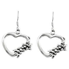 Indonesian bali style solid 925 silver heart love earrings jewelry c20273