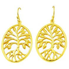 Indonesian bali style solid 925 silver rose gold tree of life earrings c20475