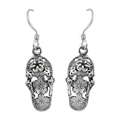 4.47gms indonesian bali style solid 925 silver slipper charm earrings c20311