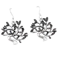 Indonesian bali style solid 925 silver tree of life earrings jewelry c20261