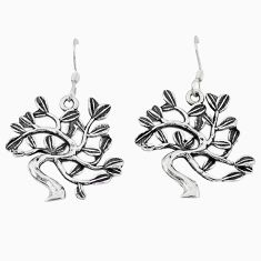 Indonesian bali style solid 925 silver tree of life earrings jewelry c20267