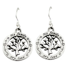 Indonesian bali style solid 925 silver tree of life earrings jewelry c23038