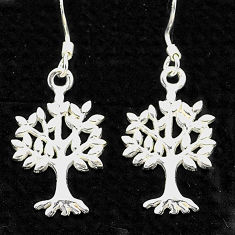 3.89gms indonesian bali style solid 925 silver tree of life earrings t6273