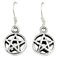 Indonesian bali style solid 925 silver wicca symbol earrings jewelry c20298