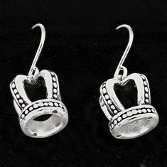 2.83gms indonesian bali style solid 925 sterling silver crown earrings t6114