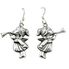 Indonesian bali style solid 925 sterling silver dangle doll earrings c23116
