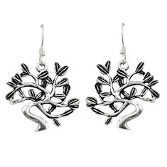 Indonesian bali style solid 925 sterling silver dangle peacock earrings c20266