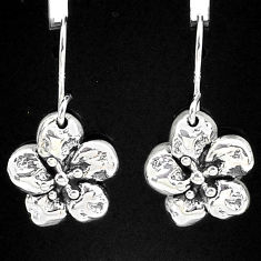 2.27gms indonesian bali style solid 925 sterling silver flower earrings t6142