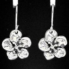 2.03gms indonesian bali style solid 925 sterling silver flower earrings t6147