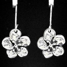 2.28gms indonesian bali style solid 925 sterling silver flower earrings t6148