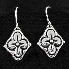 1.85gms indonesian bali style solid 925 sterling silver flower earrings t6162