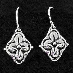 1.48gms indonesian bali style solid 925 sterling silver flower earrings t6173