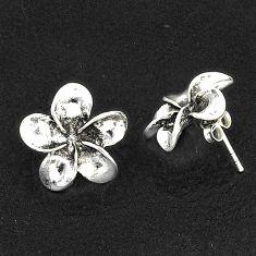 4.02gms indonesian bali style solid 925 sterling silver flower earrings t6263