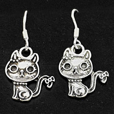 4.02gms indonesian bali style solid 925 sterling silver two cats earrings t6275